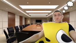 Wearing a smiley suit in a meeting