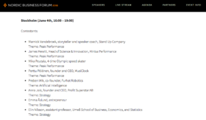 Nordic Business Forum speaker sourcing contestant list