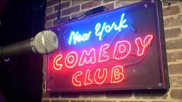 new york comedy club banner with mic